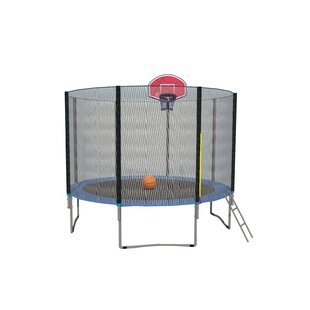 Exacme Net Ladder Basketball Hoop 10' Round Trampoline with Safety Enclosure