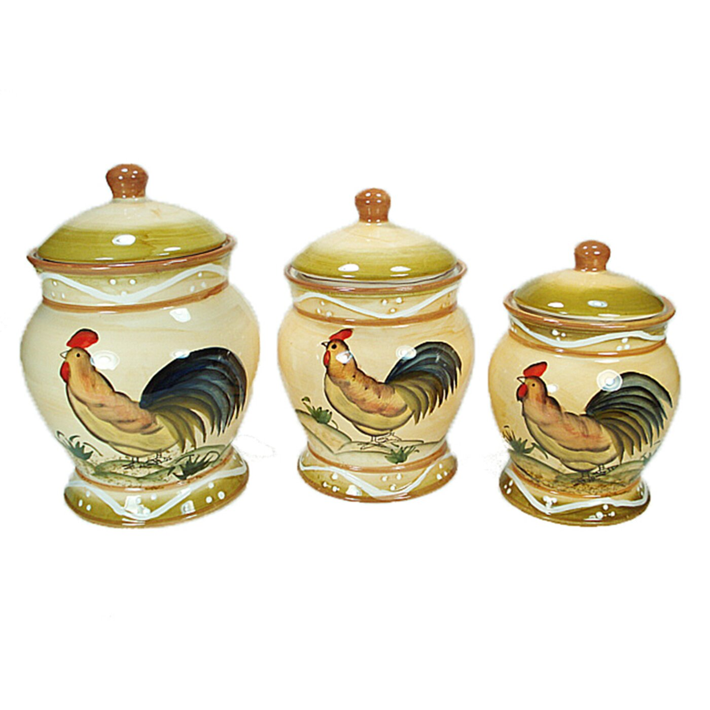 Ceramic Fruit 3 Piece Kitchen Canister Set