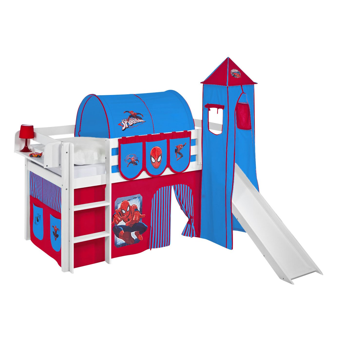 Pretty princess high sleeper playhouse bed - Jelle Spiderman High Sleeper Bunk Bed With Curtain Tower And Slide
