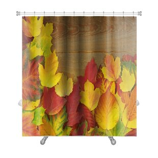 Leaves Autumn with Colored Leaves on Wooden Board Premium Single Shower Curtain