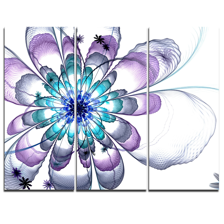 Designart Fractal Flower Light Blue 3 Piece Graphic Art On Wrapped Canvas Set Wayfair