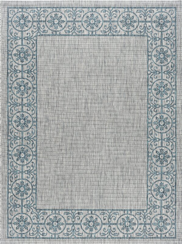 World Menagerie Mann Traditional Teal Indoor/Outdoor Area Rug ...