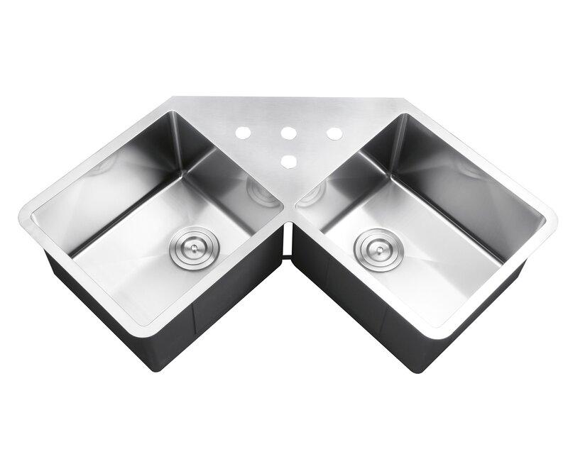 Gravena Corner 44 L X 23 W Double Basin Undermount Kitchen Sink