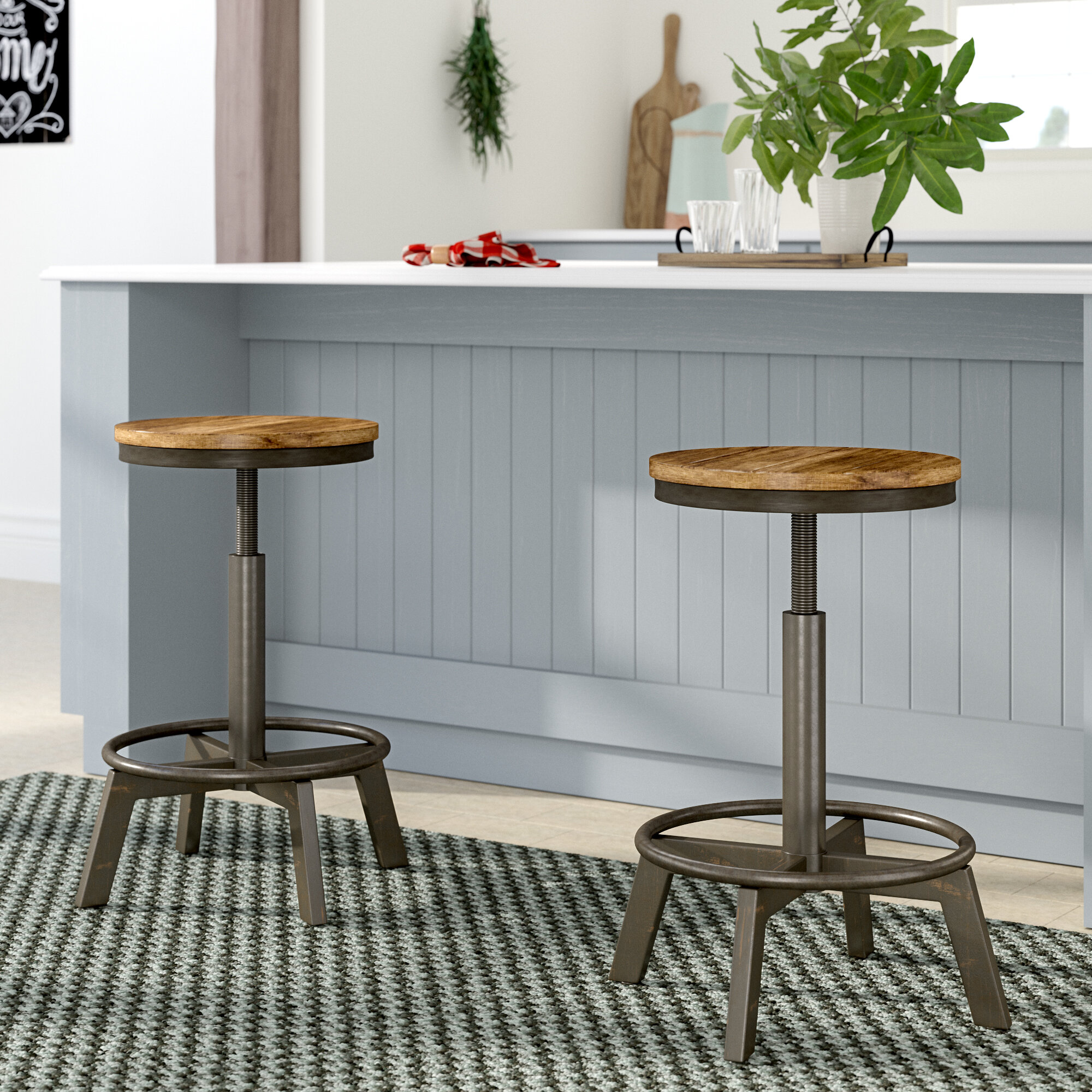Gracie Oaks Port Morris Adjustable Height Bar Stool Reviews Wayfair