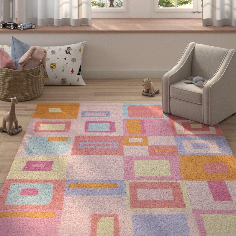Harriet Bee Claro Geometric Hand Tufted Wool Pink Blue Orange Area Rug Reviews Wayfair