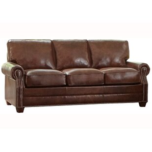 Lyndsey Leather Sofa Bed by 17 Stories