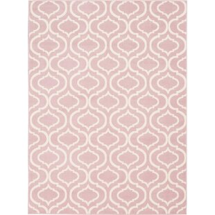 Eloy Geometric Pink/Ivory Area Rug by House of Hampton