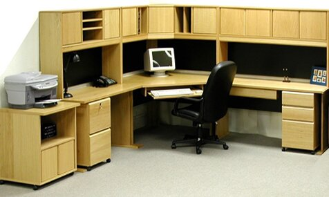 Rush Furniture Office Modulars Corner Executive Desk with Hutch