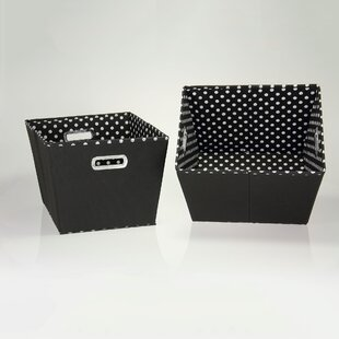Online Reviews Mini Dot Tapered Fabric 2 Piece Cubes & Bin Set By Household Essentials