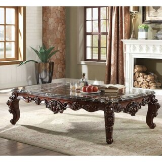 Alois Traditional Rectangular Wood and Marble Coffee Table by Astoria Grand SKU:CB578500 Price Compare