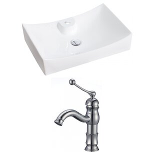 High-End Above Counter Ceramic Rectangular Vessel Bathroom Sink with Faucet By Royal Purple Bath Kitchen