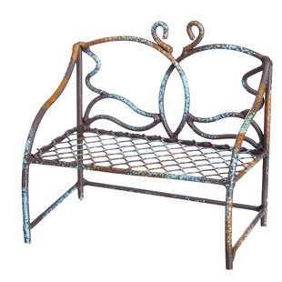 Verdigris Butterfly Mini Garden Bench by Evergreen Enterprises, Inc