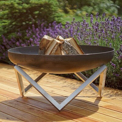 Curonian Memel Stainless and Rusting Steel Wood Burning Fire Pit