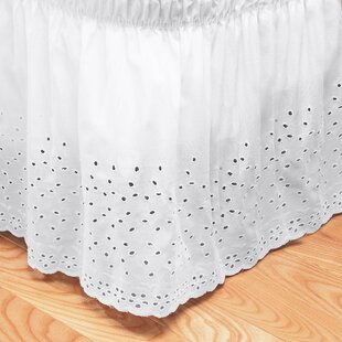 Embroidered Floral Eyelet Polyester Dust Ruffle 14 Bed Skirt