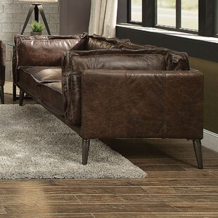 Eilidh Leather Loveseat by 17 Stories