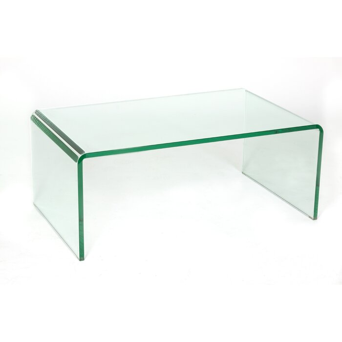 Beau Waterfall Glass Coffee Table