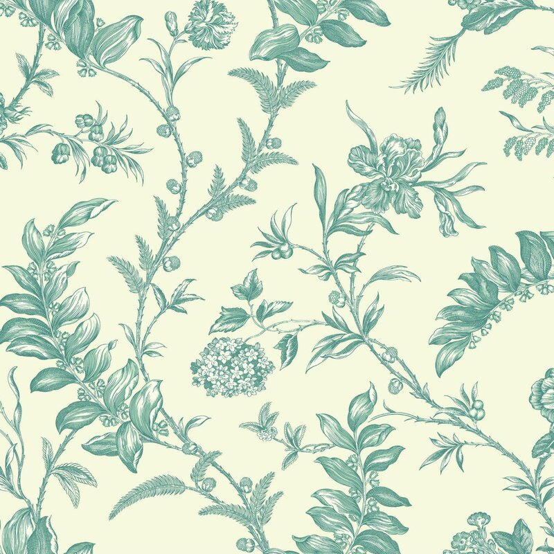 "Williamsburg Solomon's Seal 27' x 27"" Floral and Botanical Wallpaper"