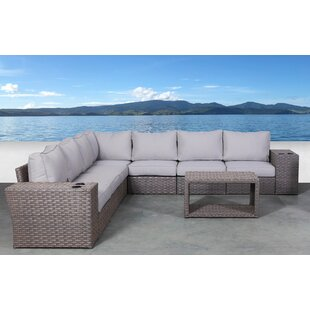 Cody 10 Piece Rattan Sectional Seating Group with Cushions