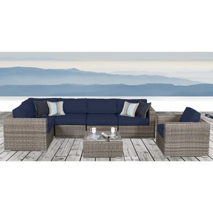 Weir 7 Piece Rattan Sunbrella Sectional Seating Group with Cushions by Rosecliff Heights