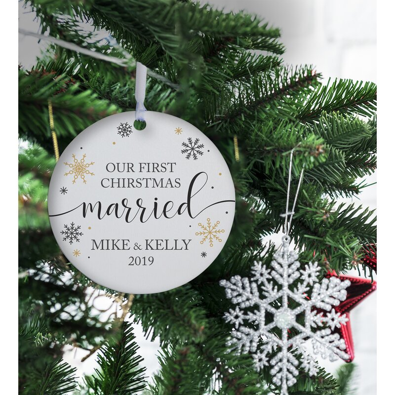 The Holiday Aisle Our First Christmas Married With Snowflakes Design Ball Ornament Wayfair Ca