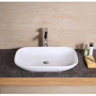 Compare prices Ceramic Rectangular Vessel Bathroom Sink By Luxier