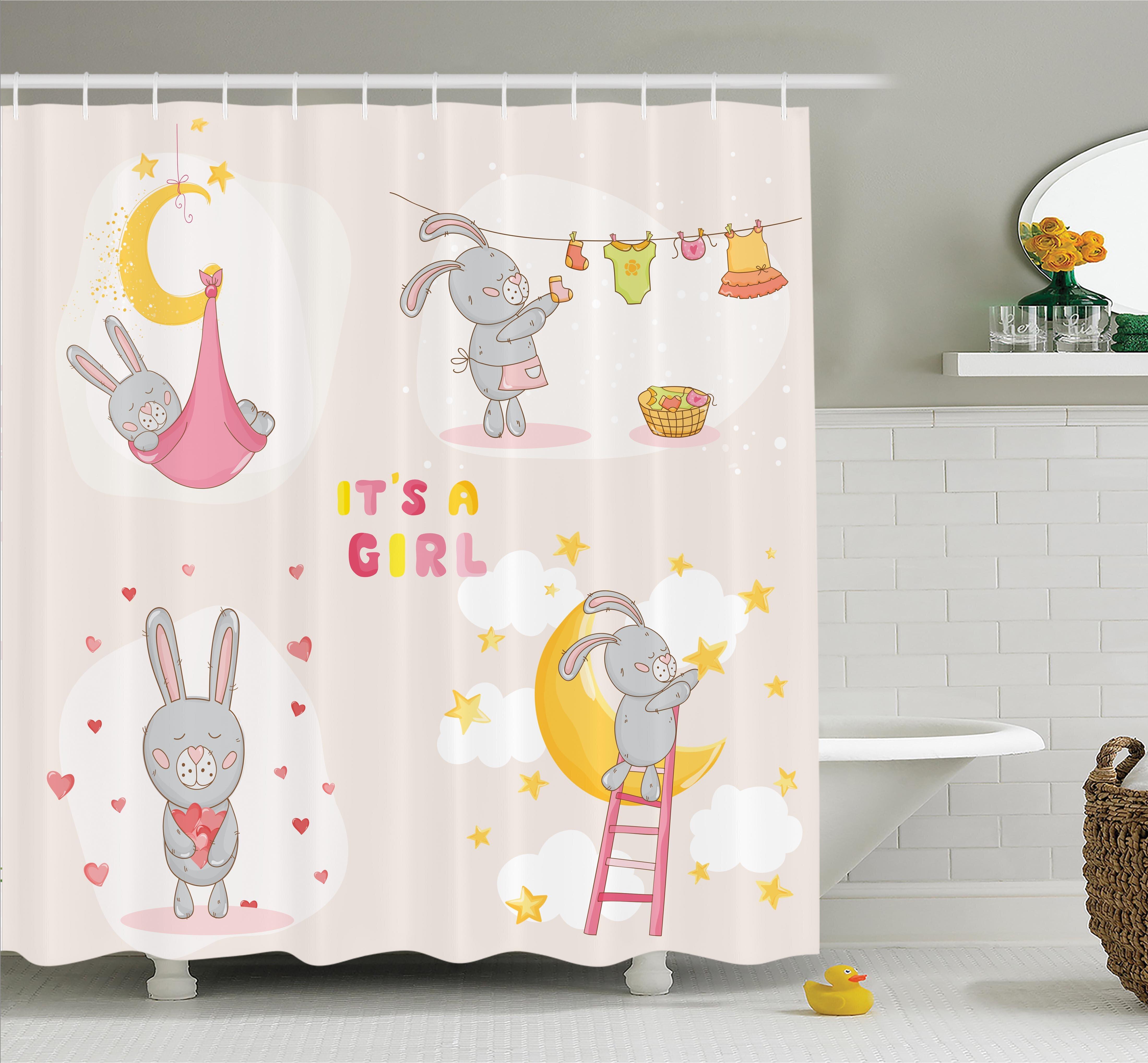 Harriet Bee Gretna Cute Bunny Baby Love Moon Shower Curtain Set