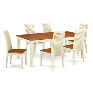 Pilger 7 Piece Solid Wood Dining Set by A..