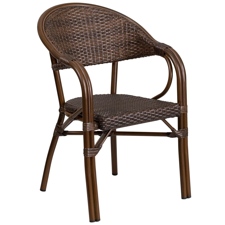 Bayou Breeze Shelie Modern Rattan Restaurant Patio Chair Reviews Wayfair