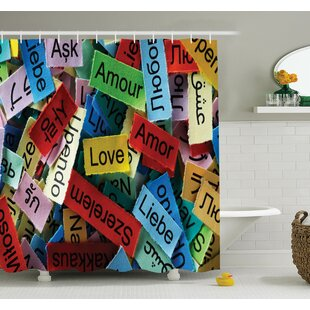 Junya Romance Valentines Words Shower Curtain Set
