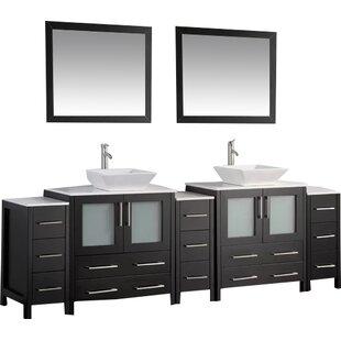 Karson 96 Double Bathroom Vanity Set with Mirror by Wade Logan