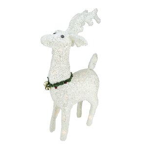 lighted white plush glittered reindeer christmas decoration