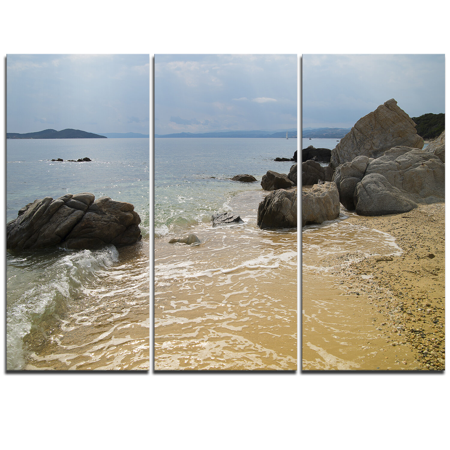 Designart Beautiful Sea View Of Rocky Coast 3 Piece Photographic Print On Wrapped Canvas Set Wayfair Ca