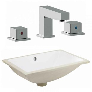 Royal Purple Bath Kitchen CSA Ceramic Rectangular Undermount Bathroom Sink with Faucet and Overflow