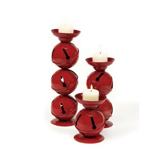 Christmas Traditions Red Jingle Bell 3 Pieces Metal Candlestick Set