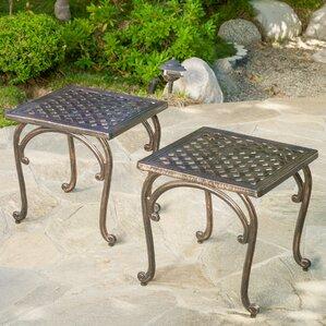 Glenn Cast Aluminum Outdoor Side Table Set Of 2