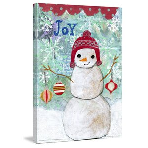'Joy Snowman' by Jill Lambert Painting Print on Wrapped Canvas