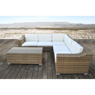 Solis Patio San Mateo 6 Piece Rattan Sectional Set with Cushions