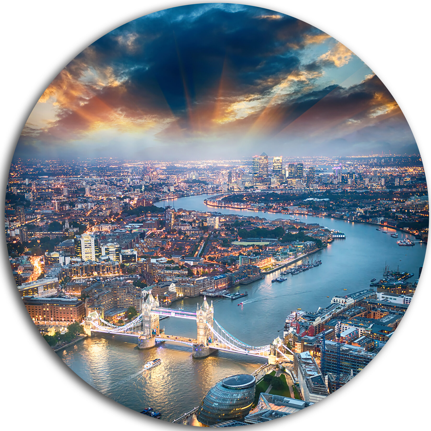 Designart Aerial View Of London At Dusk Photographic Print On Metal Wayfair