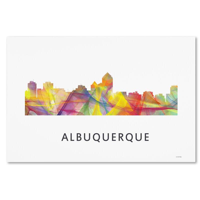Trademark Art Albuquerque New Mexico Skyline Wb 1 Graphic Art On Wrapped Canvas Wayfair