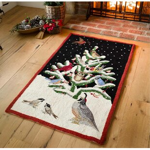 Read Reviews Holiday Tweet Accent Wool Red/Black Area Rug By Plow & Hearth