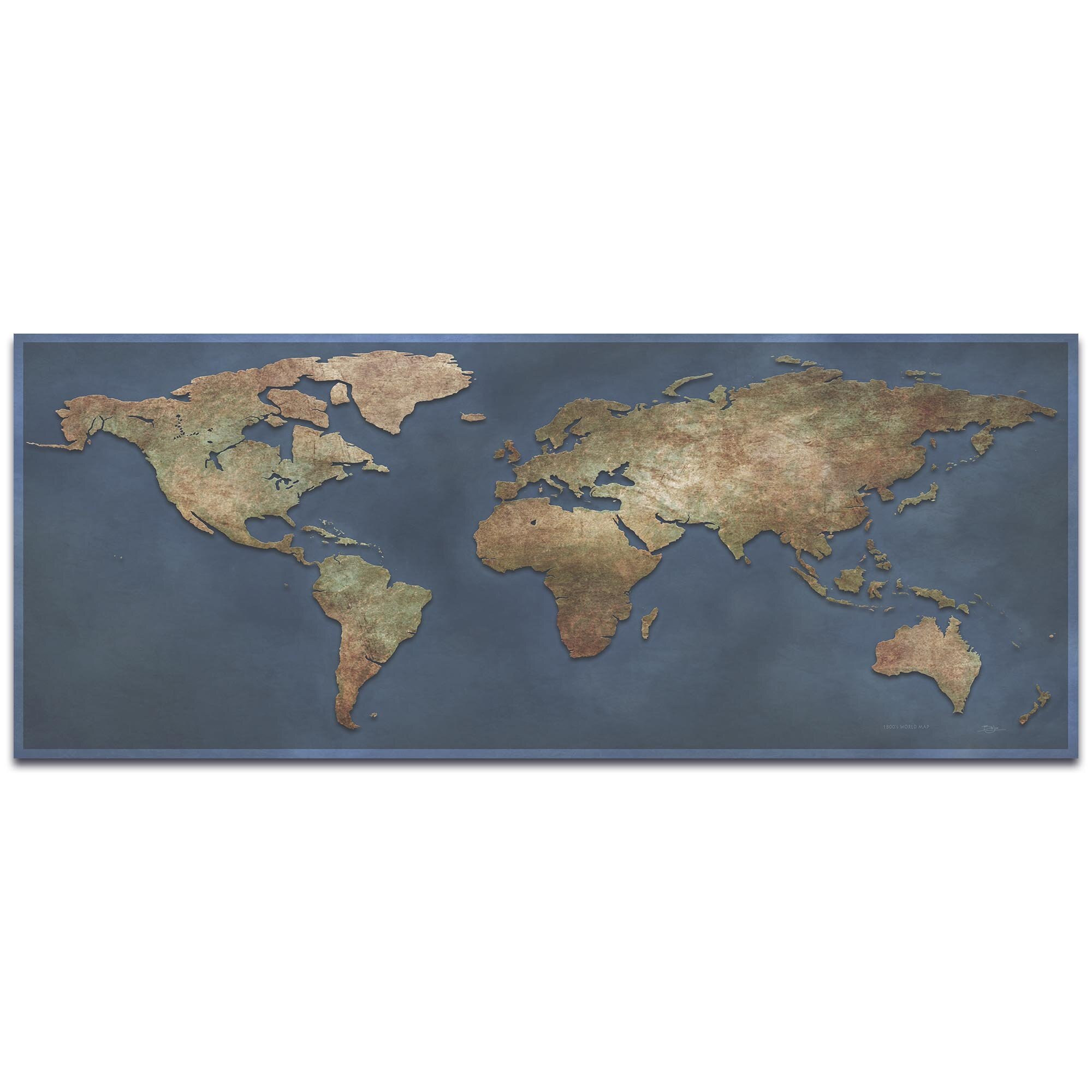 World Map Poster Contemporary Black /& Grey Style  Satin Matt Laminated New
