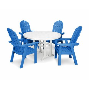 Vineyard Adirondack Nautical Trestle 5 Piece Dining Set POLYWOOD®