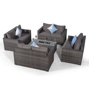 Villatoro Grey Rattan 4 X 2 Seat Sofa With 2 X Ice Bucket Rectangle Coffee Table, Outdoor Patio Garden Furniture By Sol 72 Outdoor