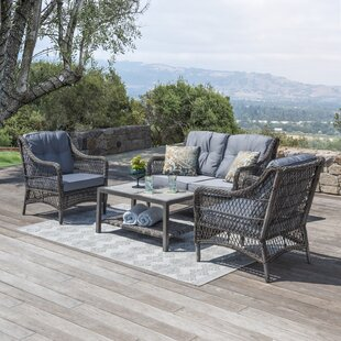 Pelletier 4 Piece Rattan Sofa Seating Group with Cushions
