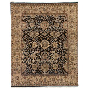 Affordable Moghul Hand-Knotted Wool Black/Beige Area Rug ByExquisite Rugs