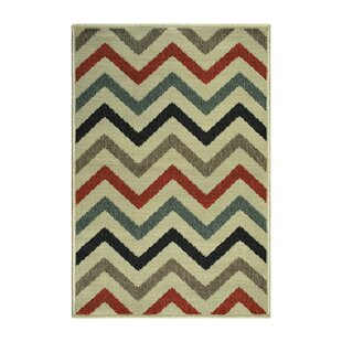 Wampler Chevron Power Loom Polypropylene Beige Indoor/Outdoor Beige Area Rug