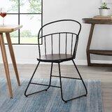 Thorton Metal Slat Back Side Chair in Espresso by Gracie Oaks