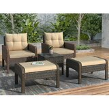Outdoor Conversation 5 Piece Rattan Seating Group with Cushions by Latitude Run®