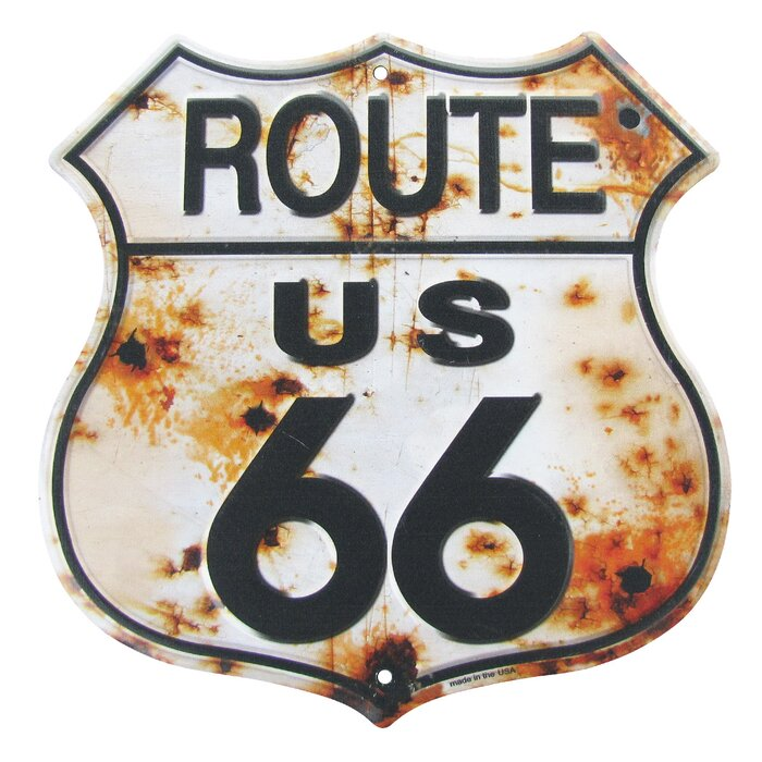 Rusty Highway Route 66 Metal Us Made Garage Man Cave Wall Décor