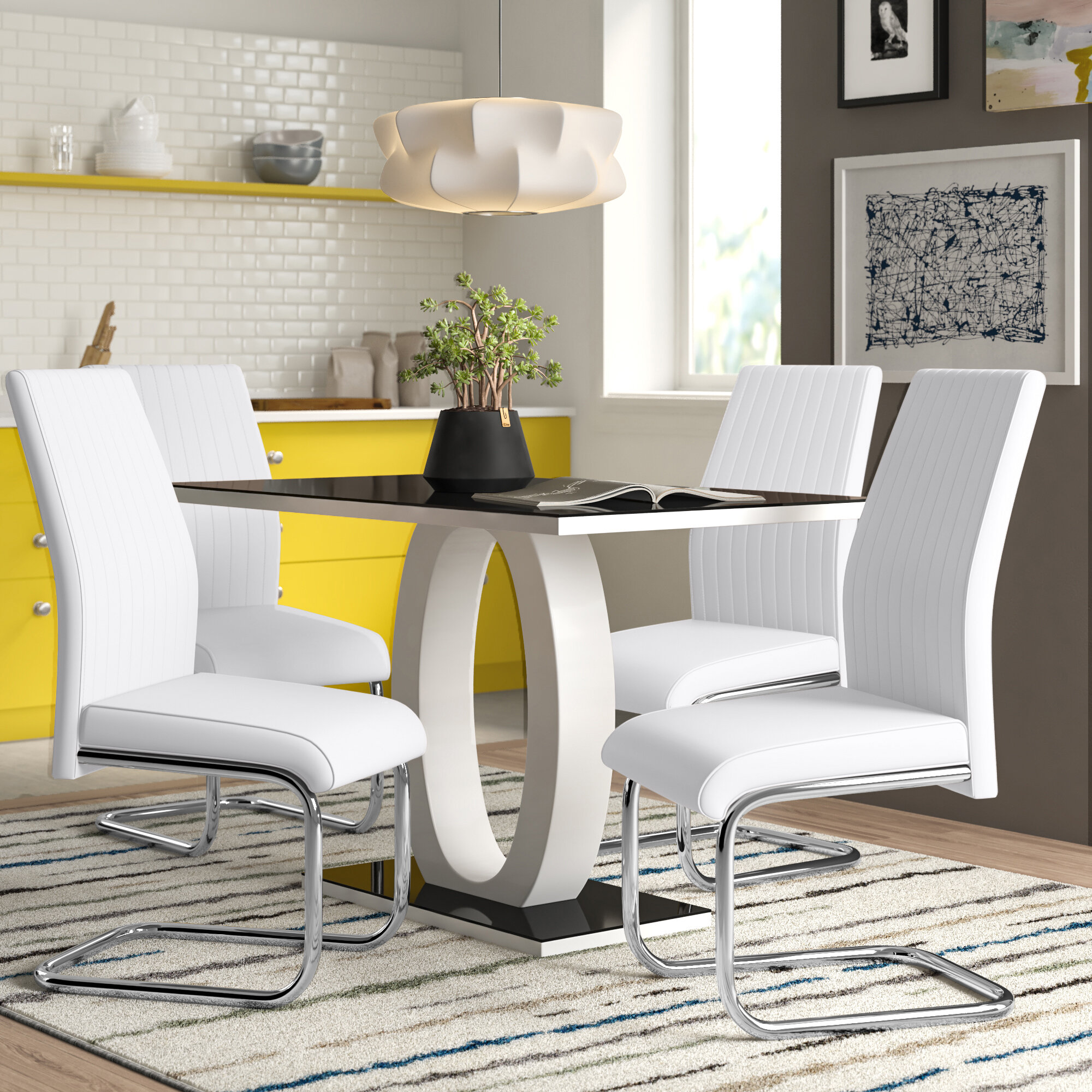 Metro Lane Strout Dining Set With 4 Chairs Reviews Wayfair Co Uk